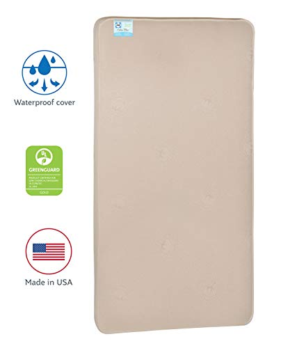 Sealy Nature Couture Cotton Bliss Waterproof 2-Stage Toddler & Baby Crib Mattress - 204 Premium Coils, 51.7 x 27.3