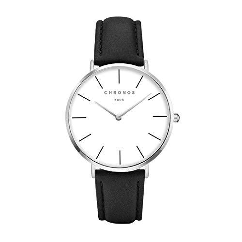 (Chronos Men Women Quartz Watch PU Leather Watch Unisex Black Causal Minimalist Thin White Analog Face Ladies Gentlement Watch)