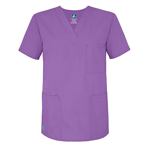 (Adar Universal Unisex V-Neck Tunic 3 Pocket Scrub Top (Available in 39 Colors) - 601 - Lavender - L)