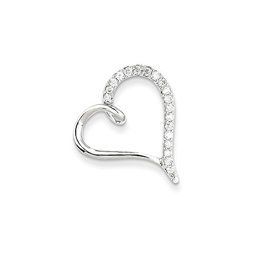 - Jewelry Stores Network 14K White Gold Aa Diamond Heart Chain Slide 21x19mm (0.24 cttw, I1 Clarity, H-I Color)