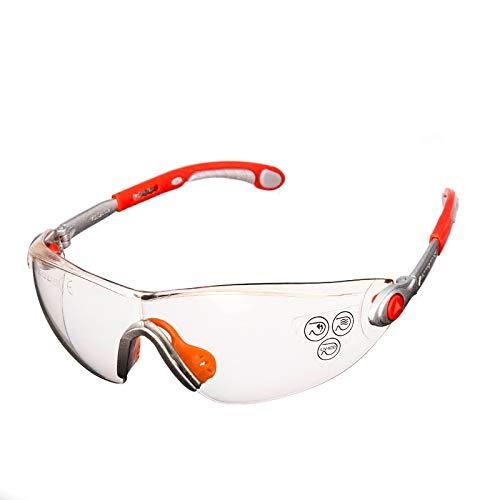 O'YA Delta - Gafas de Seguridad antiniebla ANSI Z87 + Resistente a los arañ azos Lentes envolventes, protecció n UV, Marcos Negros Ajustables protección UV O' YA