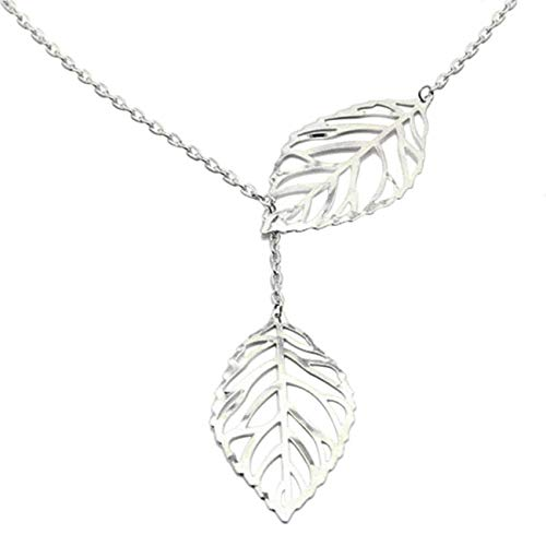 EAN Double Gold/Sliver Leaf Pendant Necklace Chain Jewelry for Women