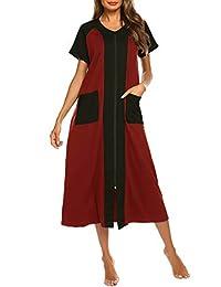 Ekouaer Housecoat Women's Short Sleeve Zipper Robe Long Nightgown Lougewear with Pockets S-XXL