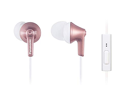PANASONIC ErgoFit Earbud Headphones with Microphone and Call Controller Compatible with iPhone, Android and BlackBerry – RP-TCM125-N – in-Ear (Rose Gold)