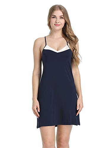 Joyaria Womens Babydoll Lingerie Sleepwear Sleeveles Soft Bamboo Nightgown Nighties Sexy Slip Dress(Navy, XL)
