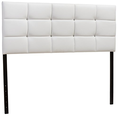 (Baxton Studio Bordeaux Modern & Contemporary Faux Leather Upholstered Button Tufted Column Headboard, Queen,)