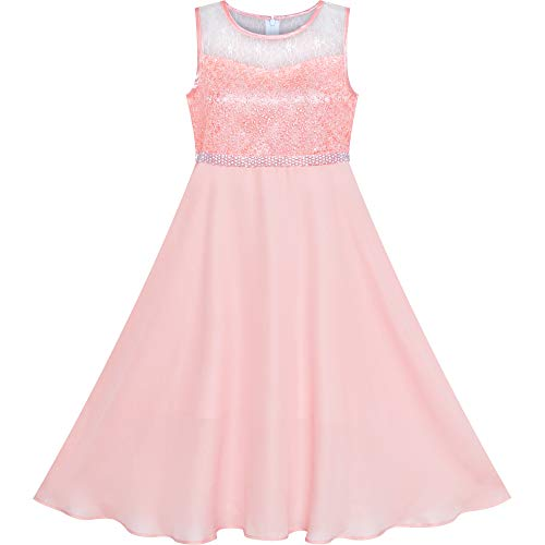 - Girls Dress Pink Rhinestone Chiffon Bridesmaid Dance Maxi Gown Size 12