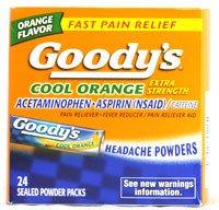 Goody de poudre Maux de tête fraîches Orange - 24 paquets