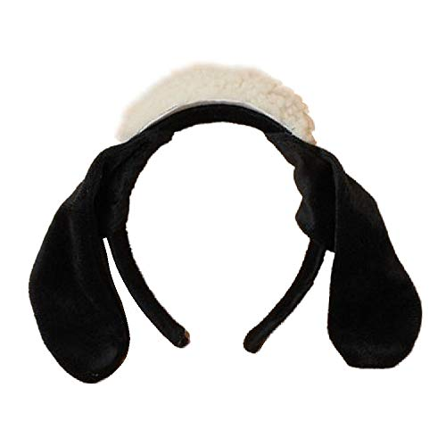 Black White Woolly Sheep Hat and Ears
