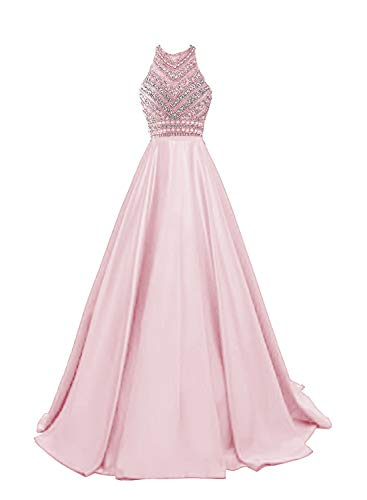 HEIMO Women's Sequins Evening Party Gowns Beading Formal Prom Dresses Long H187 18W Pink