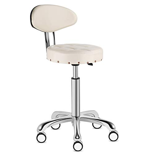 - Karrie Rolling Stool Salon Chair with Smooth-Rolling Dual-Wheels Comfortable Cushioned Back Rest 360-degree Swivel Seat Heavy Duty Hydraulic Height Adjustable Durable (Off-White, with Backrest)