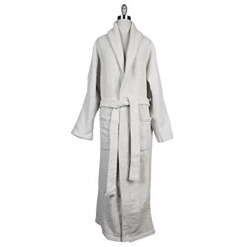 Imperial Textile Chenille Shawl Collar Full Length Bathrobe (White)