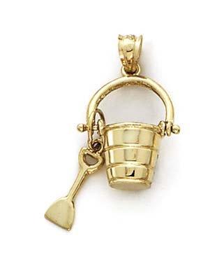 Seau et pelle 14 Carats Pendentif JewelryWeb