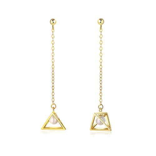 Sterling Silver Pearl Dangle Drop Earrings, Geometric Triangle Charm Long Chain Tassel Twist Threader Earrings for Women and Girls (3D Triangle Dangle Drop Earring)