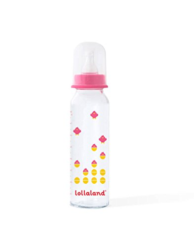 Lollaland Anti Colic Glass Baby Bottles for Newborn | Premium 8oz Glass Baby Bottle in Pink | Shark Tank Product - Pre Lollacup Baby Glass Bottle | Safe Infant Feeding Bottles - BPA Free]()