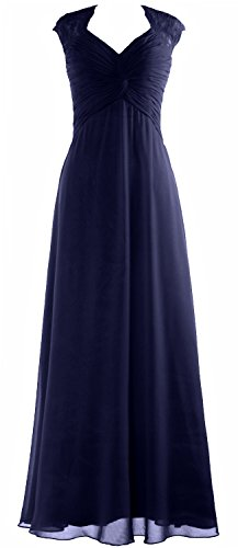 Long Wedding Party Formal MACloth Lace Prom Gown Sleeve Women Chiffon Cap Dunkelmarine Dress wF8IzZ