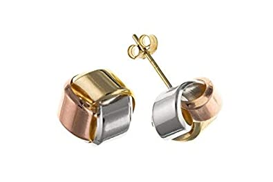 Knot Earrings Knot Stud Three Colour Gold Studs Rose White /& Yellow Gold 5mm