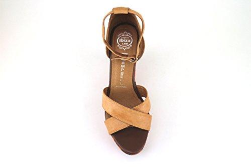 scarpe donna JEFFREY CAMPBELL sandali zeppe beige pelle tessuto AH457
