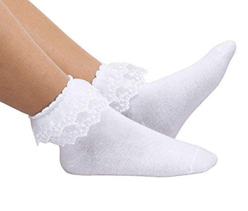 Women Lace Ruffle Frilly Ankle Socks Fashion Ladies Girl Princess H08 (White-1 pairs)