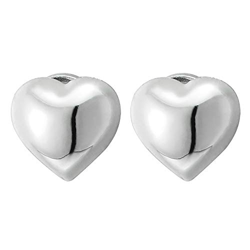 Womens Girls Magnetic Puff Heart Stud Earring, Non-Piercing Clip On Fake Ear, Polished