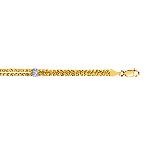 Wheat Bracelet Strand (14K Yellow Gold Double Strand Round Wheat Chain Bracelet with 0.03ct Diamond 7.25