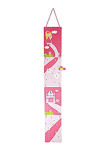 Girls Pink Princess Themed Height Growth Chart for Girls Bedroom or Nursery - CM measurements
