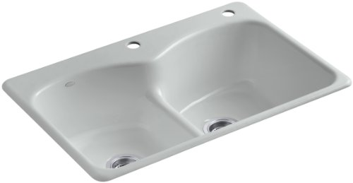 Kohler K-6626-2-95 Langlade Smart Divide Self-Rimming Kitchen Sink with Two-Hole Faucet Drilling and Single Accessory Hole Drilling, Ice Grey (Rimming Bowl Kohler Double Self)