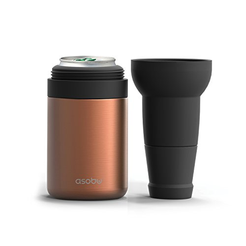 asobu Frosty Beer Can Cooler Double Walled Insulated Stainless Steel with Beer Bottle Extension and Opener (Copper) ()