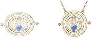 عقد بقلادة بتصميم ساعة زجاجية تايم تيرنر بلون ازرق مستوحاة من هاري بوتر
