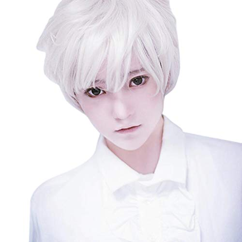 Xiaojmake Men Wig White Short Straight Hair Pixie Cut Halloween Cosplay Wig Anime Costume Party Male Wig 8 inch (White)
