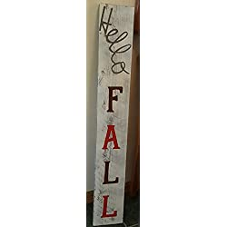 Ex. Large - Hello FALL - Wood Rustic Porch Sign