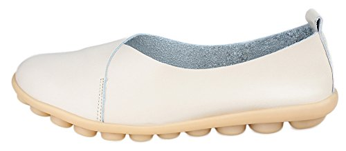 Kunsto Damen Leder Casual Loafer Flache Schuhe Beige