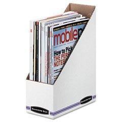 -- Corrugated Cardboard Magazine File, 4 x 9 1/4 x 11 3/4, White, 12/Carton