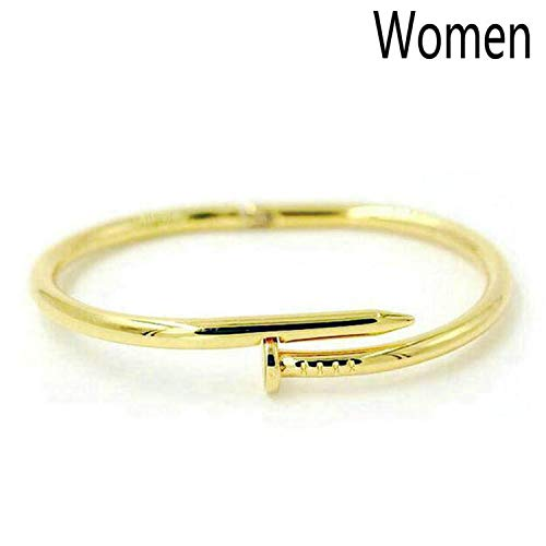 DLNCTD Brand Pulseira Feminina Silver Color Geometric Open Cuff Bangles Stainless Steel Bracelet Men Women 4 Colour Jewelry,We are Gold Really