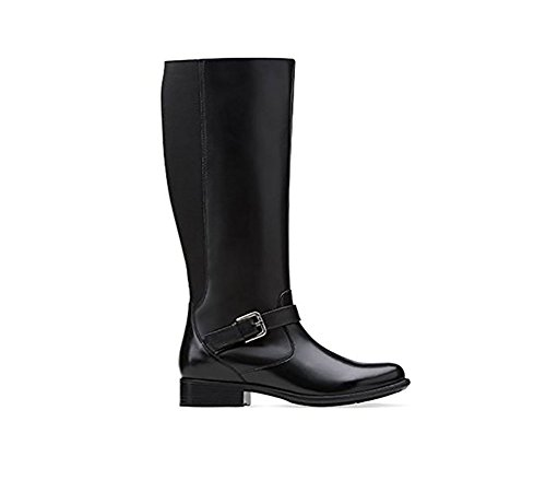 7 Boot Pilot (CLARKS Plaza Pilot Womens Black Leather Boot 7-MEDIUM)
