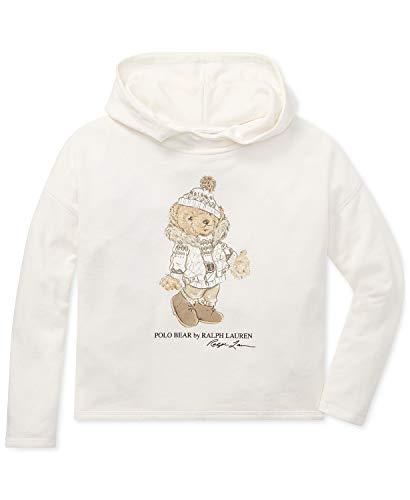 (Ralph Lauren Polo Big Girls Holiday Bear Hoodie Sweatshirt (XL 16) Off White)