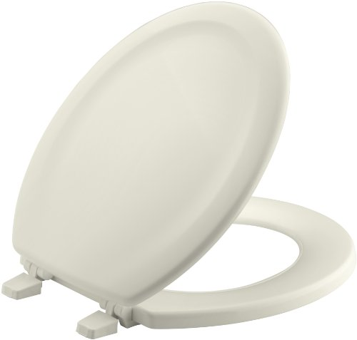 (KOHLER K-4816-96 Stonewood with Quick-Release Hinges Round-front Toilet Seat, Biscuit)