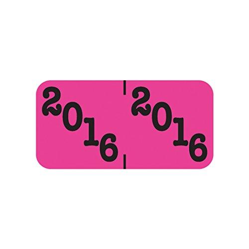 UPC 041898208352, Year Label, 2016, Pink / Black, Polylaminated (500/Roll)