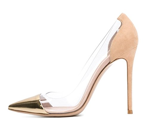 Golden for donna Scarpe Lavoro Scarpe con velvet Lavoro ScarpeWild a Heels High alto eleganti Scarpe ed Eleganti Wedding Medio tacco Tacco Ruanlei EHRqx