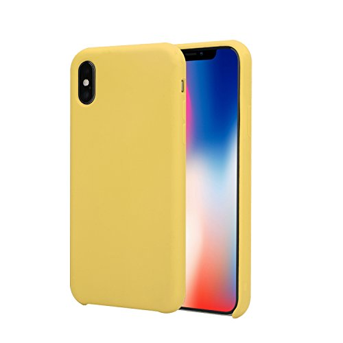 iPhone X Case,Ultra Thin Liquid Silicone Gel Rubber Shockproof Case and Ultra Soft Microfiber Cloth Lining Cushion for iPhone X (Yellow) (Yellow Silicon Skin Case)