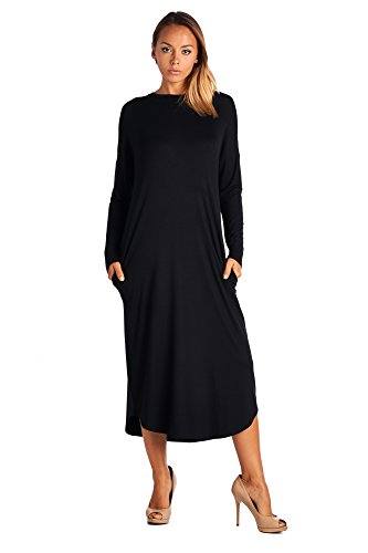 82 Days Womens Casual Long Sleeve Fall Loose Fit Dress with Pockets Made in USA