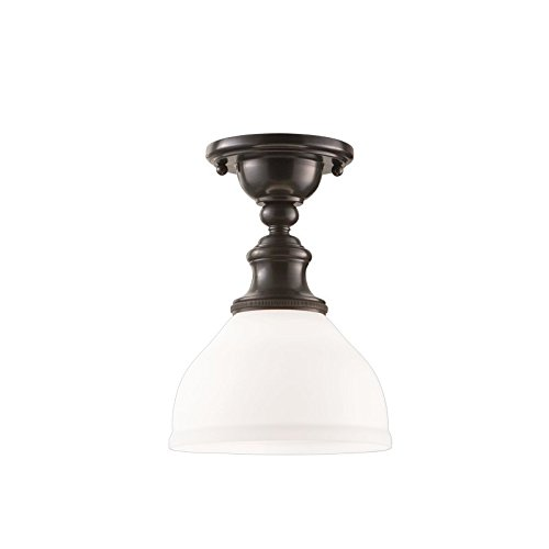 Sutton 1-Light Semi Flush - Old Bronze Finish with Opal Matte Glass Shade - Hudson Valley Lighting Bronze Ceiling Fan