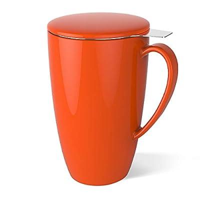 Sweese Porcelain Tea Mug with Infuser and Lid, 15 OZ
