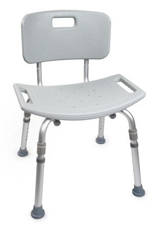 McKesson Aluminum Bath Bench with Removable Back - Slip Resistant Tips - 4 Each / Case - 20243504
