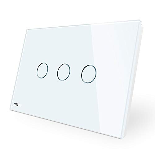 LIVOLO White US Standard 3 Gang 1 Way Dimmer & Remote Switch with LED Indicator AC 110-220V,CE Certified, C903DR-11