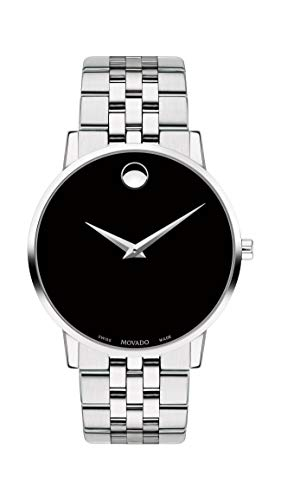 Movado Men's Museum Stainless Steel Watch with Concave Dot Museum Dial, Silver/Black (Model 607199) ()
