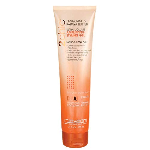 GIOVANNI COSMETICS 2Chic Tangerine And Papaya Butter Ultra-Volume Amplifying Styling Gel - Volumizing Hair Gel Recommended for Limp, Lifeless Hair (5.1Ounce / 150 Milliliter)