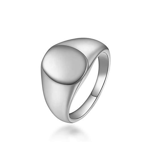 rongji jewelry Personalized Biker Square Signet Ring for Women - Customized Stainless Steel Plain Band Ring with Words and Image Engraved, for Lover (Silver-2, 5)