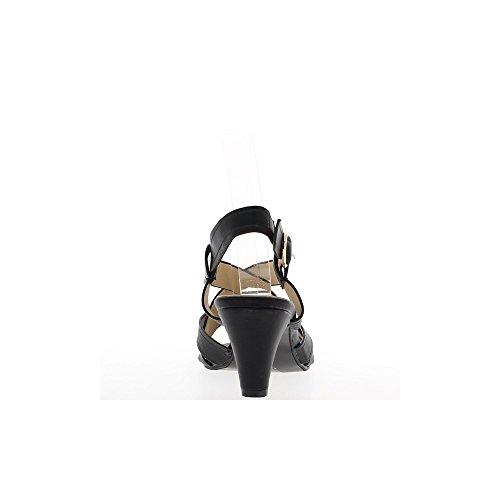 Sandales noires à talon de 7cm brides larges