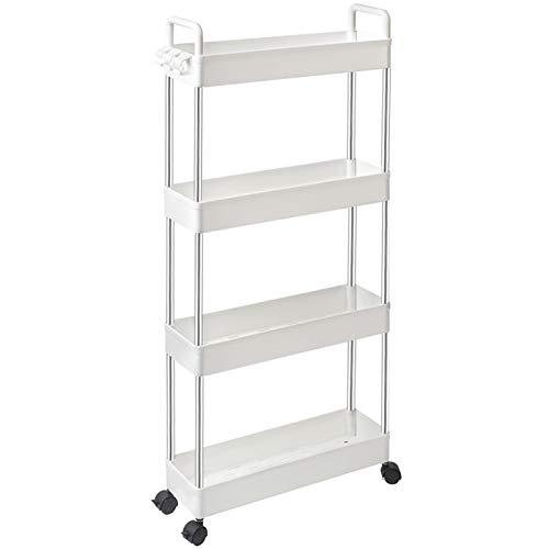 SOLEJAZZ Slim Storage Cart, 4 Tier Bathroom Organizer Mobile Shelving Unit, Rolling Utility Cart Slide Out Organizer for…